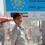A Syrian boy playing goalkeeper at Islahiye Camp. © UNICEF/Turkey-2013/Yurtsever