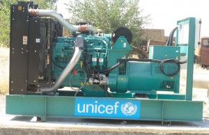 A 250 kilo-volt diesel-powered generator prior to its installation at Jaghjagh Water Station in Qamishly city. The generator will allow more than 19,000 people in Qamishly to be reached with water each day. ©UNICEF/Syria-2014/Youssef